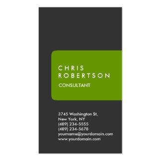 Vertical Grey White Green Stripe Business Card