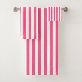 Vertical Hot Pink and White Stripes Bath Towel Set