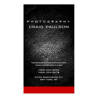 Vertical Leather Red Photography Business Card