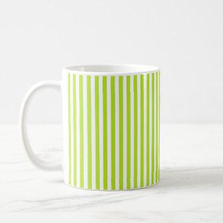 Vertical Lime Green and White Stripes Coffee Mug