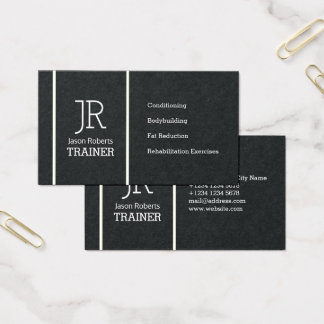 Vertical line initials or logo business card
