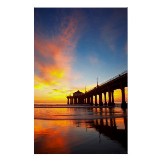 Vertical Manhattan Beach Pier Poster