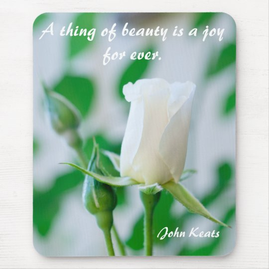 Vertical Mousemat White Rose & Keats Quote Mouse Pad
