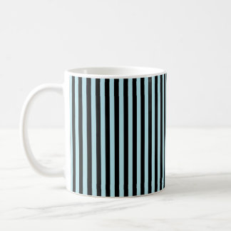 Vertical Pastel Blue and Black Stripes Coffee Mug