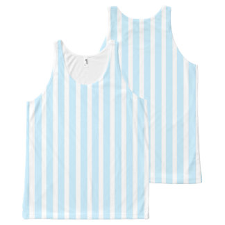Vertical Pastel Blue and White Stripes All-Over-Print Tank Top