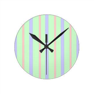 Vertical Pastel Stripes Round Clock