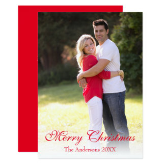 Vertical Photo Red Merry Christmas Holiday Card