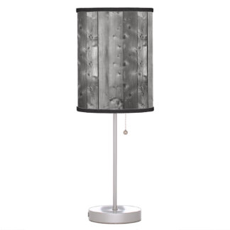 Vertical Planks of Knotty Grey Weathered Wood Table Lamp