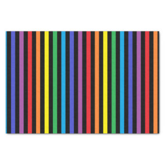 Vertical Rainbow and Black Stripes Tissue Paper