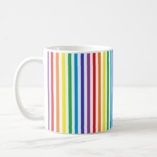Vertical Rainbow and White Stripes Coffee Mug