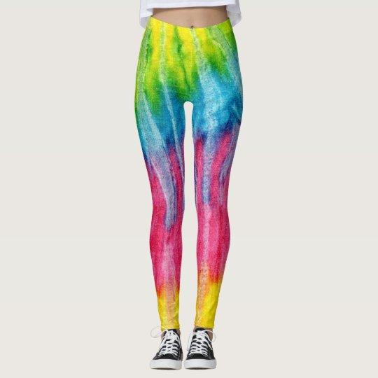 Vertical Rainbow Tye Dye Leggings