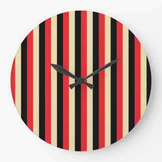Vertical Red, Beige and Black Stripes Large Clock