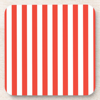 Vertical Red Stripes Coaster