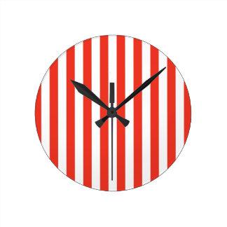 Vertical Red Stripes Round Clock