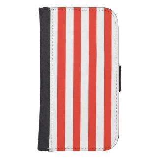 Vertical Red Stripes Samsung S4 Wallet Case