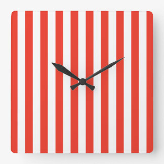 Vertical Red Stripes Square Wall Clock