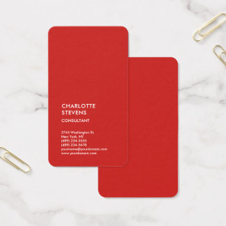 Vertical Red Trendy Minimalist Elegant Simple Business Card