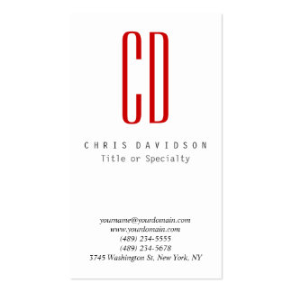 Vertical Red White Color Monogram Business Card