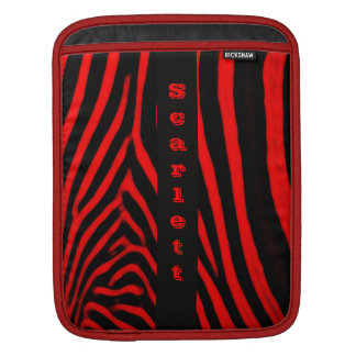 Vertical Red Zebra Stripes Monogram iPad Sleeve
