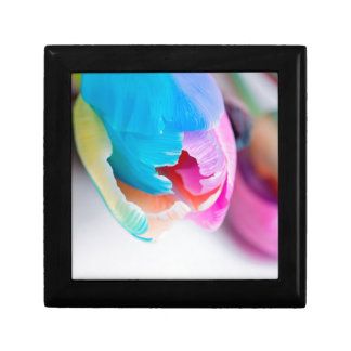 Vertical shoot of unusual multi colored tulip gift box