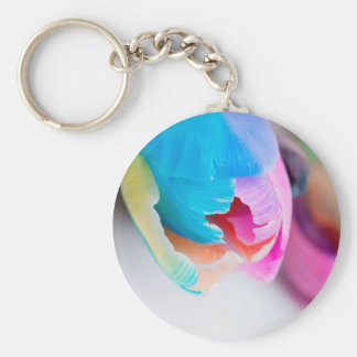 Vertical shoot of unusual multi colored tulip keychain