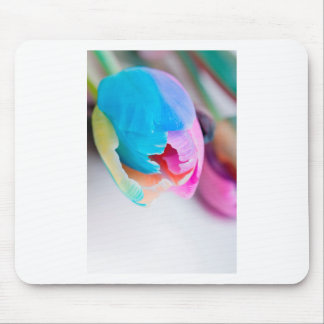 Vertical shoot of unusual multi colored tulip mouse pad