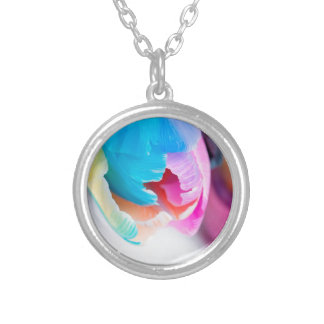 Vertical shoot of unusual multi colored tulip silver plated necklace