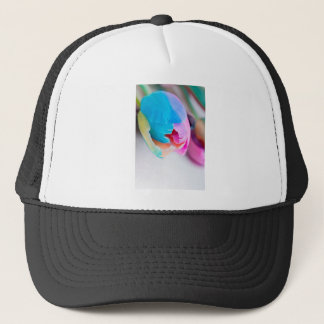 Vertical shoot of unusual multi colored tulip trucker hat