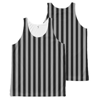 Vertical Silver and Black Stripes All-Over-Print Tank Top