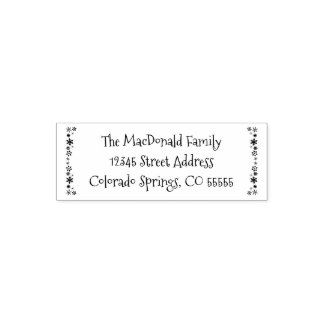 Vertical Snowflakes - Self-Inking Address Stamp