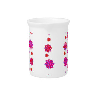 Vertical Stripes Floral Pattern Collage Pitchers
