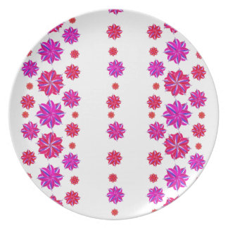 Vertical Stripes Floral Pattern Collage Plate