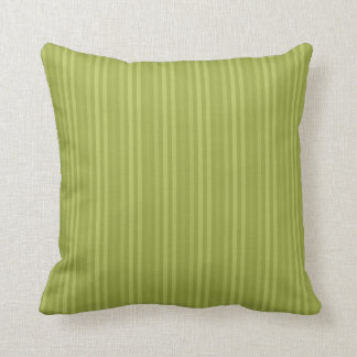 Vertical Stripes Pattern Olive Green Throw Pillow