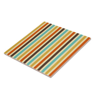 Vertical Stripes Retro Colours Blue Yellow Red Ceramic Tiles