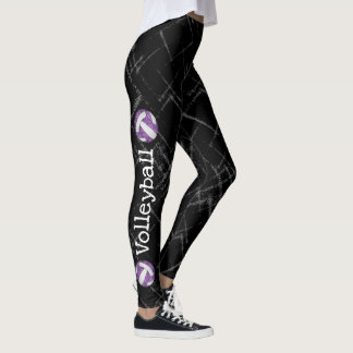 vertical text purple volleyball black leggings