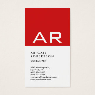 Vertical Trendy Red White Monogram Stylish Business Card