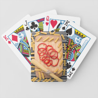 Vertical view on food background from pasta poker deck