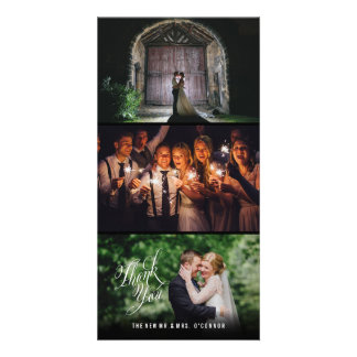 Vertical Wedding Thank You Photo Cards Black Frame