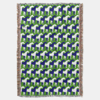 Vertical White and Navy Blue Horses on Green Throw