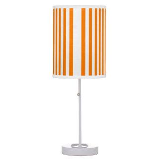 Vertical White Stripes Design on Orange Lamp Shade