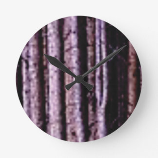 vertical wood lines round clock