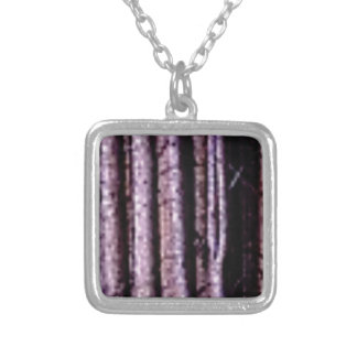 vertical wood lines silver plated necklace