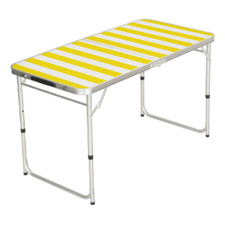 Vertical Yellow Stripes Beer Pong Table