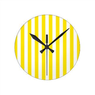 Vertical Yellow Stripes Round Clock