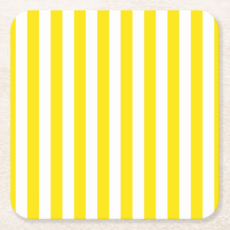 Vertical Yellow Stripes Square Paper Coaster
