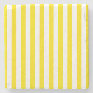 Vertical Yellow Stripes Stone Coaster