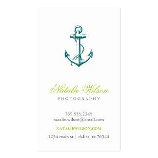 Verticale vintage turquoise foncée d'ancre cartes de visite personnelles