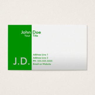 verts professionnels cartes de visite
