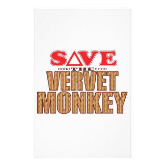 Vervet Monkey Save Custom Stationery