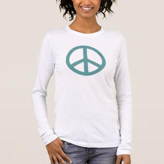 Very Aqua Peace Symbol Personalized Long Sleeve T-Shirt